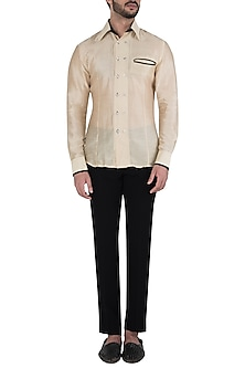 Off White Silk Shirt by Kommal Sood