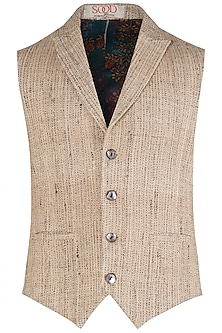 Beige Handloom Silk Waist Coat by Kommal Sood