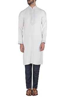 White Embroidered Kurta by Kommal Sood