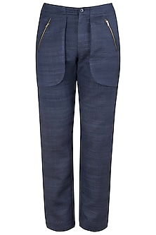 Navy Blue Zipped Pocket Trousers by Kommal Sood