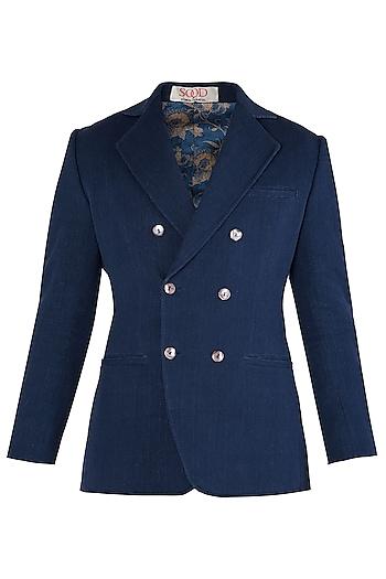 Dark Blue Double Breasted Jacket by Kommal Sood