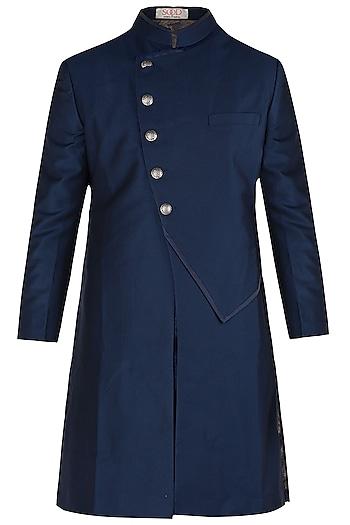 Blue Long Achkan Jacket by Kommal Sood