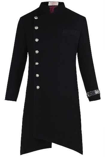 Black Asymmetrical Long Achkan Jacket by Kommal Sood