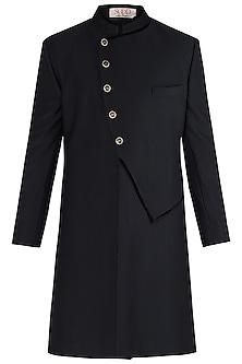 Black Long Achkan Jacket by Kommal Sood