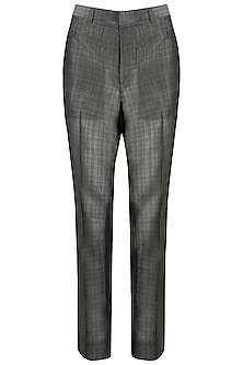 Grey Handloom Silk Trousers by Kommal Sood