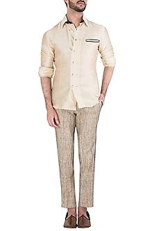 Beige Slim Fit Trousers by Kommal Sood