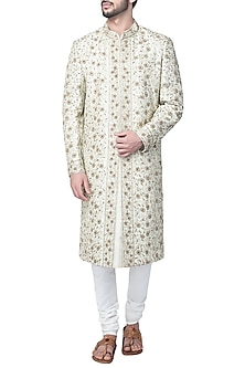Beige Gold Embroidered Sherwani Set by Kommal Sood