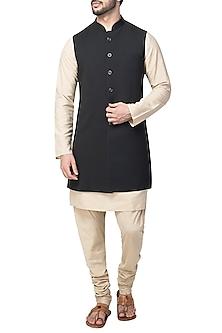 Black Long Nehru Jacket by Kommal Sood