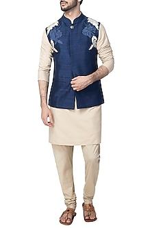Navy Blue Nehru Jacket by Kommal Sood