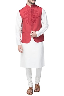 Maroon Embroidered Nehru Jacket by Kommal Sood