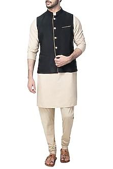 Black Nehru Jacket by Kommal Sood