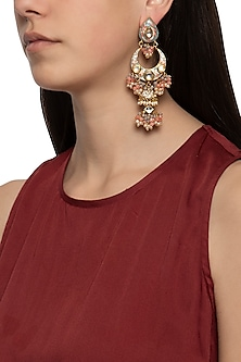 Gold plated cluster beaded long earrings by Just Shraddha