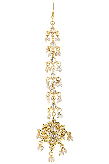 Gold plated kundan and pearl maang tikka by Just Shraddha