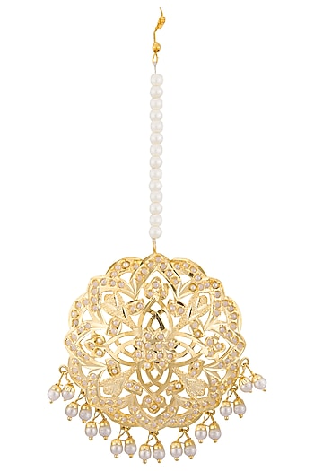 Gold plated pearl motif maangtika by Just Shraddha