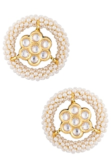 Gold plated pearl stud earrings by Just Shraddha