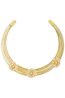 Gold plated hasli necklace by Just Shraddha-JEWELLERY AS GIFTS