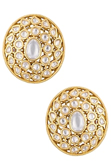 Gold plated polki stud earrings by Just Shraddha