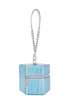 Ice Blue Handbag With Detachable Handle by KNGN