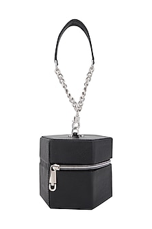 Black Handbag With Chain Strap & Detachable Handle by KNGN