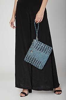 Black & Blue Handbag With Wristlet by KNGN