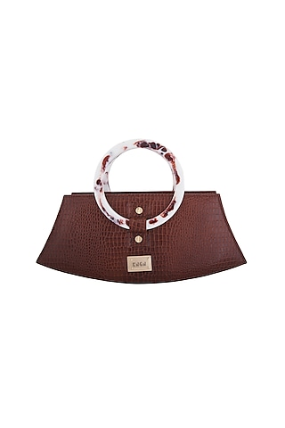 Wine Handbag With Marble Printed Handle by KNGN