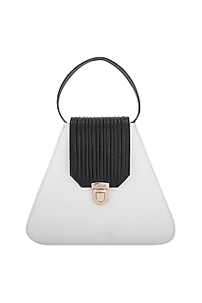 White & Black Handbag With Push Lock Opening by KNGN