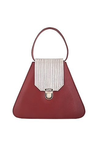 Red & Gold Handbag With Push Lock Opening by KNGN