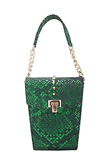 Emerald Green Clutch With Twist Lock Opening  by KNGN