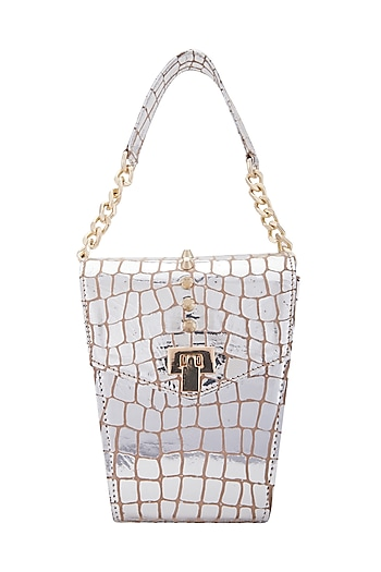 Silver Clutch With Twist Lock Opening by KNGN