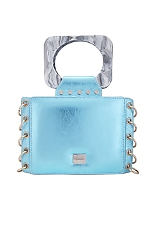 Ice Blue Clutch With Shoulder Strap by KNGN