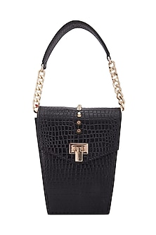 Black Clutch With Twist Lock Opening by KNGN