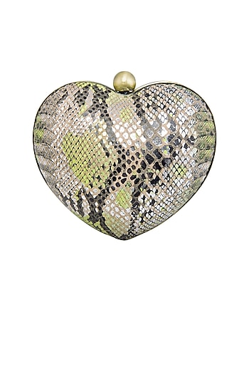 Silver & Neon Green Handcrafted Heart Clutch by KNGN