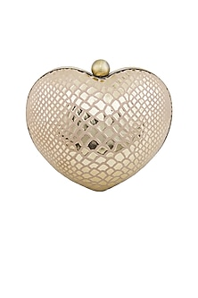 Gold Handcrafted Heart Clutch by KNGN