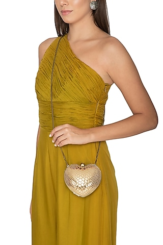 Golden Handcrafted Heart Clutch by KNGN