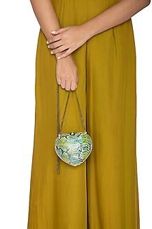 Green Gradient Handcrafted Heart Clutch by KNGN