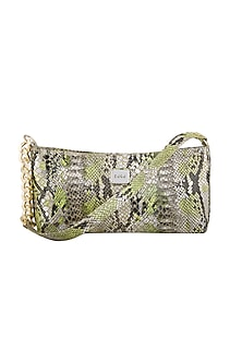 Neon Green & Silver Handcrafted Shoulder Bag by KNGN