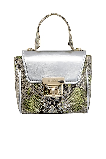 Silver & Green Mini Crossbody Bag by KNGN