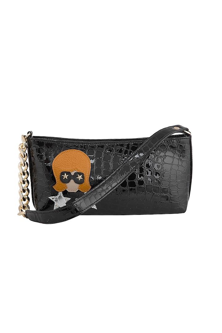 Black Handcrafted Shoulder Bag by KNGN