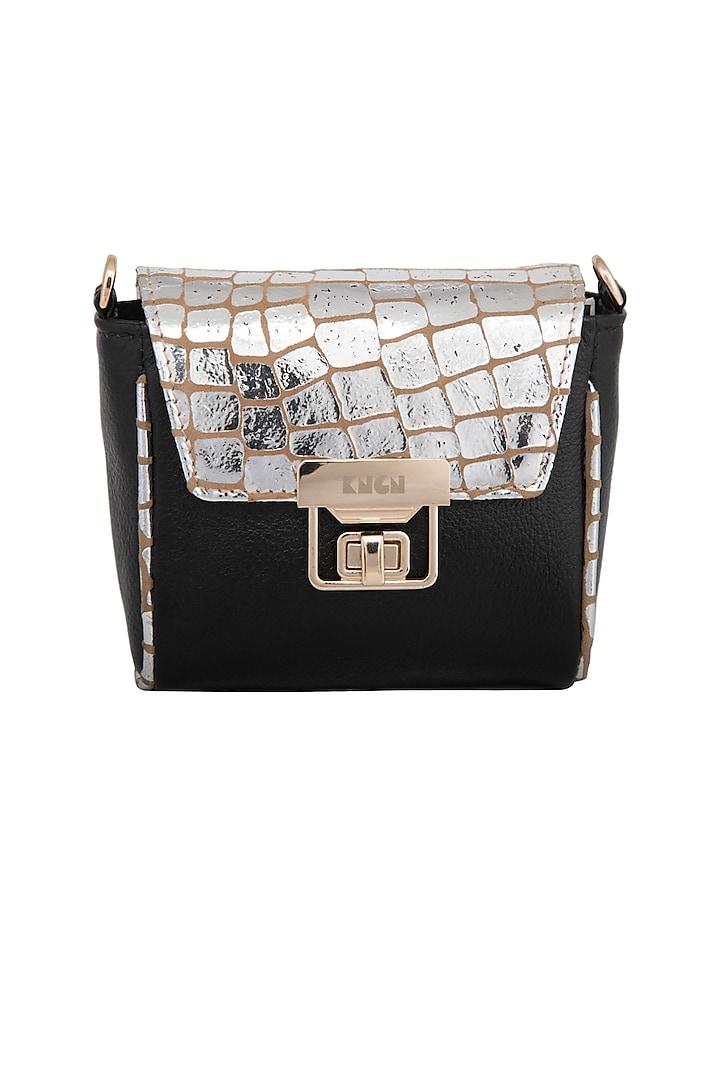 Black & Silver Mini Crossbody Bag by KNGN