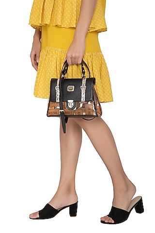 Black & Yellow Handcrafted Crossbody Bag by KNGN