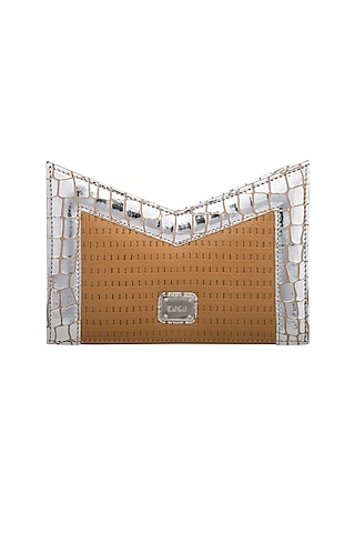 Silver & Tan Handcrafted Clutch by KNGN