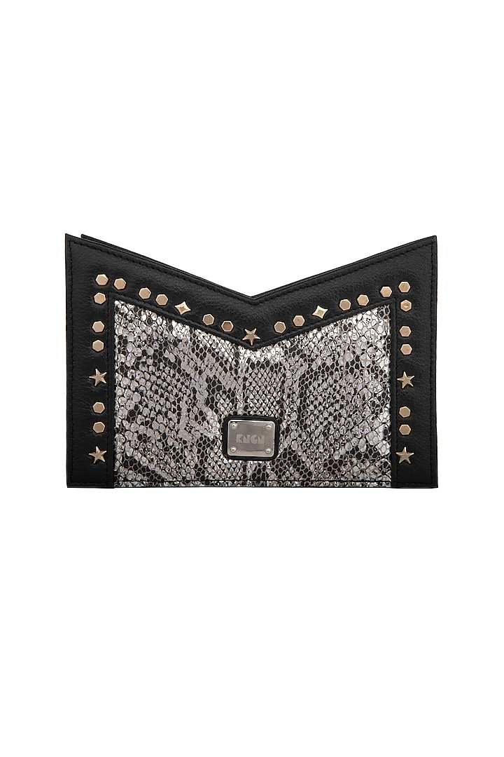 Black & Silver Handcrafted Clutch by KNGN
