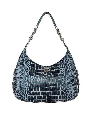 Blue & Black Handcrafted Shoulder Bag by KNGN