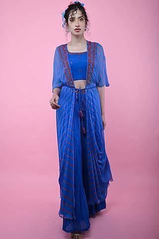 Blue & Red Cowl Jacket Set by K-ANSHIKA Jaipur