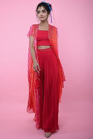 Orange & Red Asymmetric Leheriya Jacket Set by K-ANSHIKA Jaipur