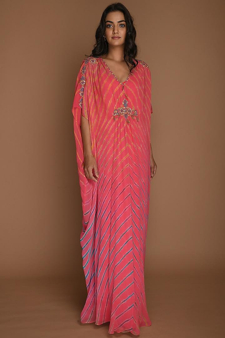 Pink Embellished Kaftan Tunic With Inner by K-ANSHIKA Jaipur