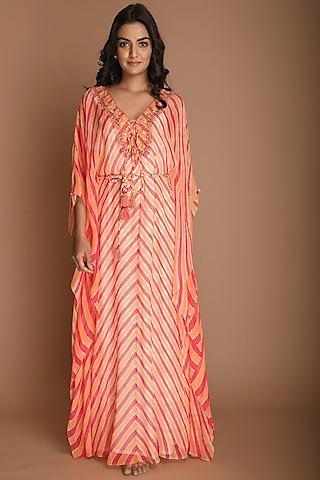 Melon & Carrot Embellished Kaftan Tunic With Belt by K-ANSHIKA Jaipur
