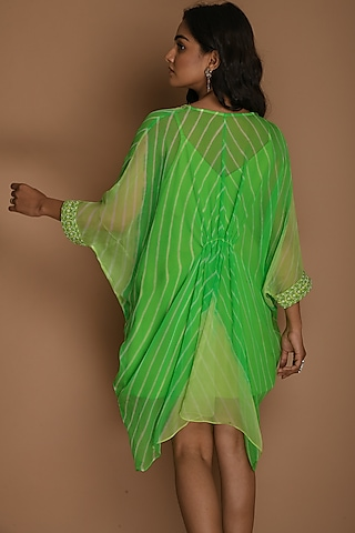 Lime Green & Green Kaftan Top With Inner by K-ANSHIKA Jaipur