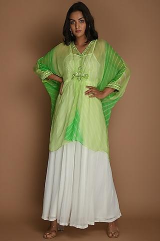 Lime Green & Cream Pants Set by K-ANSHIKA Jaipur