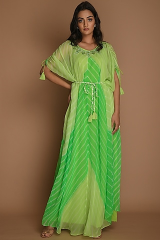 Lime Green & Green Kaftan With Inner & Belt by K-ANSHIKA Jaipur